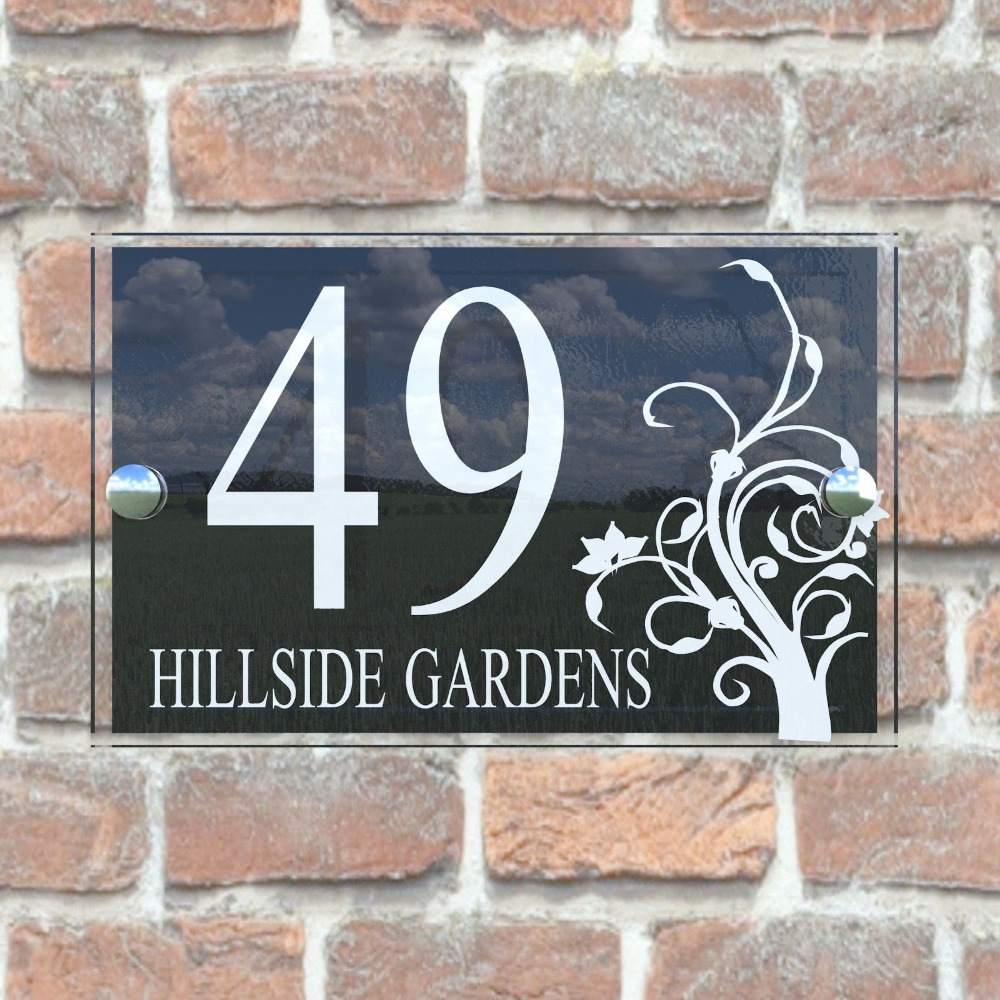 Customized transparent acrylic house signs door plates plaques with black panel door number and st