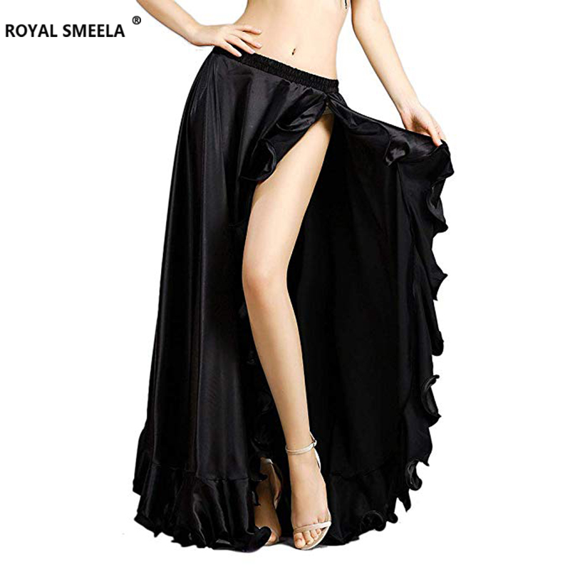 2019 new senior satin sexy belly dance performance costume split 5 colors belly dancing skirts for