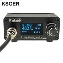 KSGER Mini estación de soldadura T12, STM32 V2.1S OLED, herramientas de soldadura de calentamiento rápido, bricolaje, FX9501, mango de aleación de aluminio, puntas de hierro T12