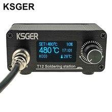 KSGER 미니 T12 납땜 스테이션 STM32 V2.1S OLED DIY 빠른 가열 용접 도구 FX9501 알루미늄 합금 핸들 T12 철 팁