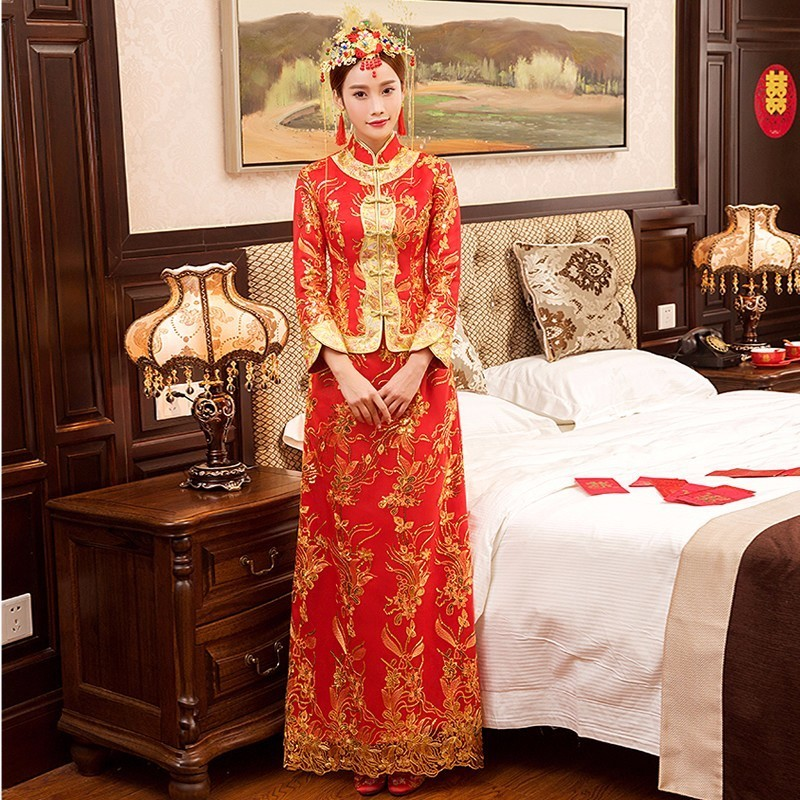 0a2d676a7 2018 Chinese Traditional Wedding Dress Cheongsam Red Qipao Long Oriental  Style Dresses China Clothing Store Chinees