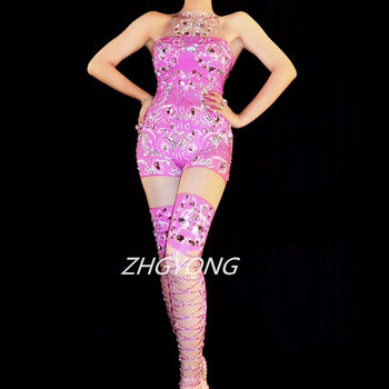 Sparkly Rhinestones Pink Printed Elastic Jumpsuit Sexy Women Birthday Party Stage Outfit Star Singer Concert Nightclub Costume