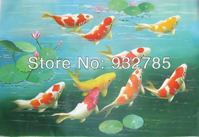 Elegant Large Canvas Art , Koi Fish Handpainted Oil Paintings Lotus Gold Feng Shui  Wall Home Decor