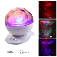 Aurora Ocean Wave Projector Starry Sky LED Night Light 7 Colors Music Novelty Illusion Lamp USB