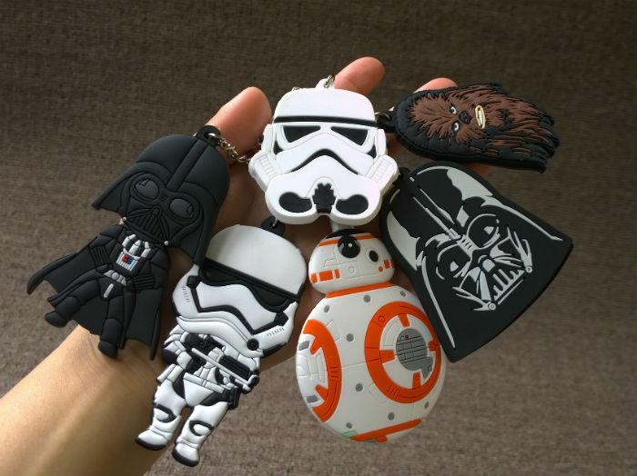 8 pcs/lot star wars keychain Movie BB8 R2 star wars figures set pendants free shipping