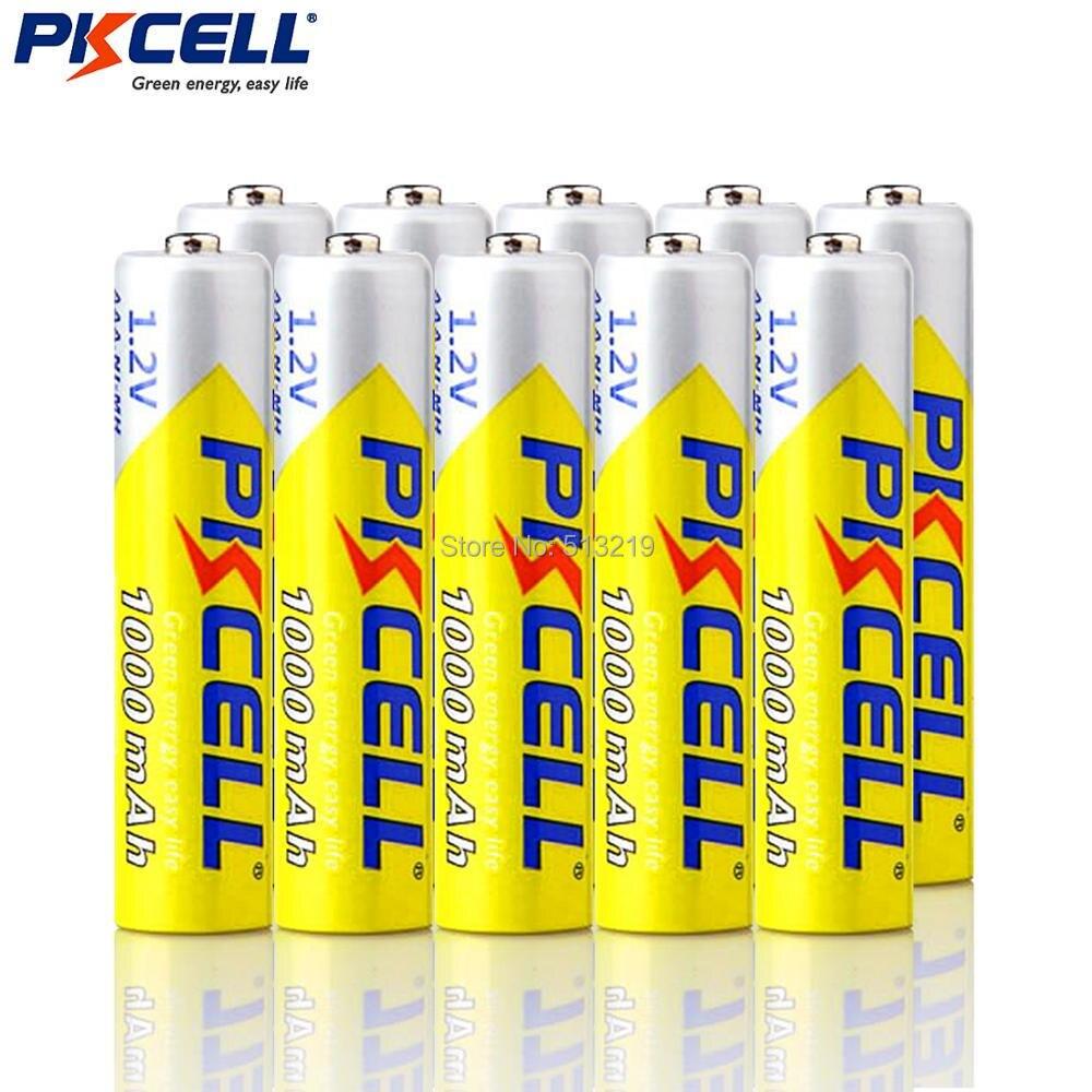 10 шт. PKCELL 1,2 В NIMH AAA 3A 1000 мАч AAA Батарея Перезаряжаемые Батарея Ni-MH аккумуляторы Батарея Перезаряжаемые