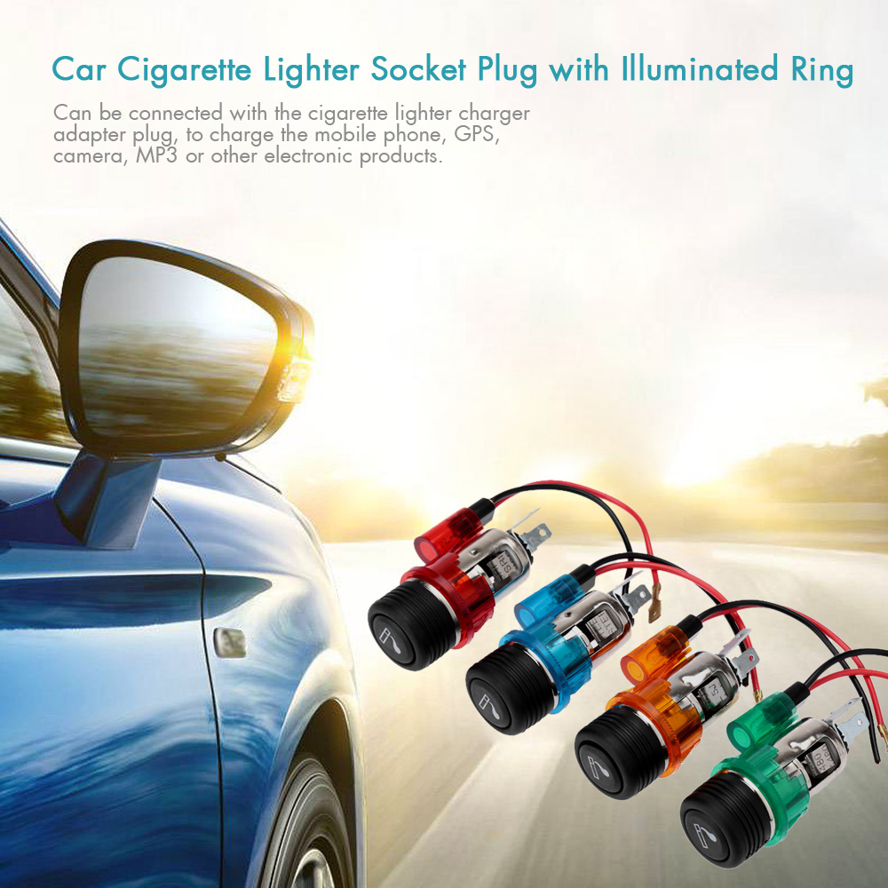 c200 car style 12v illuminated car cigarette lighters socket plug replacement kit for cars for. Black Bedroom Furniture Sets. Home Design Ideas