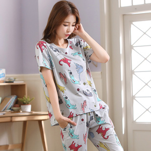 Image 2 - women pajamas sets big size 100% cotton short sleeve nightwear animal pyjamas lady summer sleepwear M L XL XXL XXXL 4XL 5XL