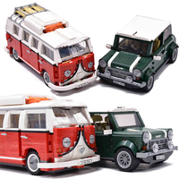 legoings Technic Creator Mini T1 Camper Van Cooper Beetle Car Building Blocks Bricks Technical DIY Toys for children 10220 10252
