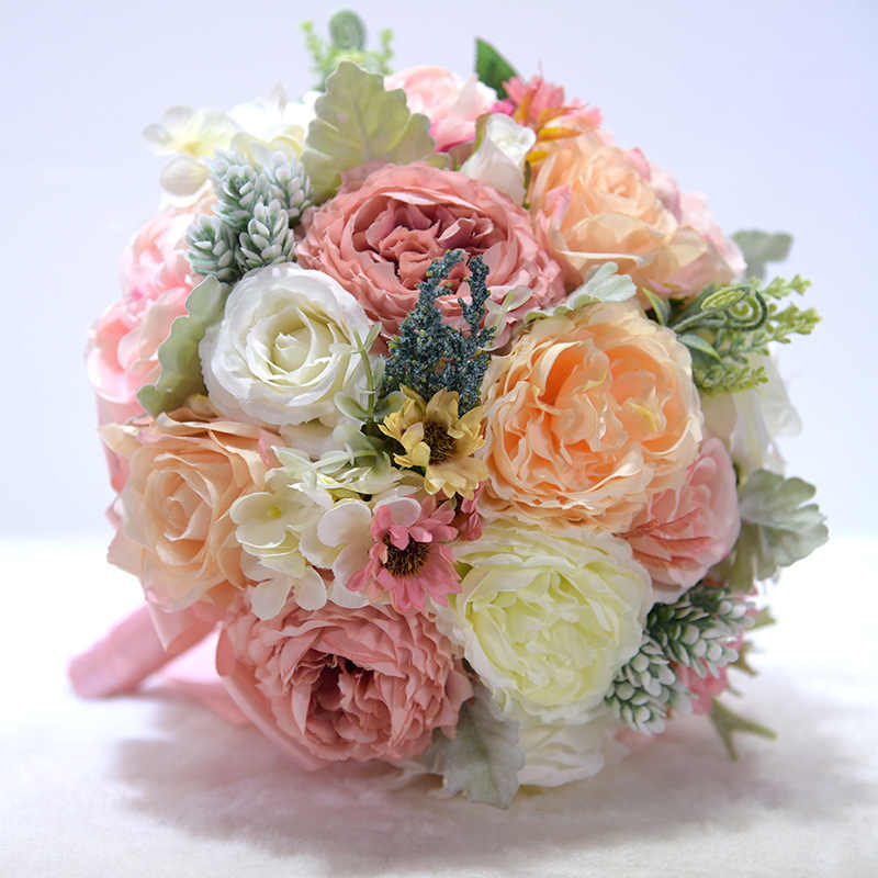Baru Pernikahan Bouquet Gading dan Blush Pink Toon Ungu Peony Bunga Sutra Buket Pengantin Buque De Noiva Dekorasi Pernikahan