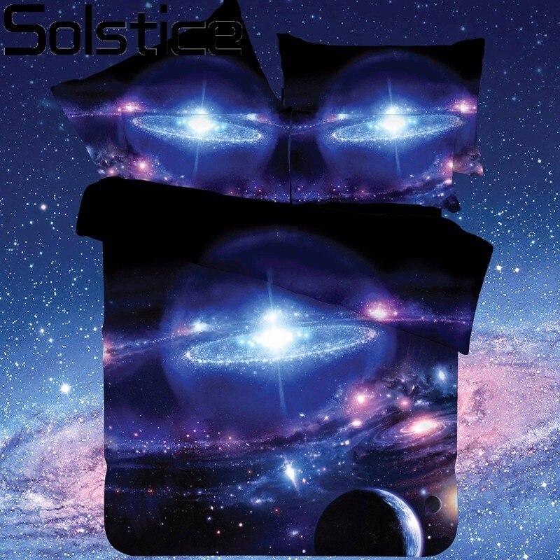 Solstice Textile de Maison Galaxy Univers L'espace À Thème 2 pcs/3 pcs/4 pcs Couvre-lit Lit Linge de Lit feuille Housse de couette Taie D'oreiller