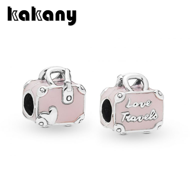 2019 Summer Collection New Style 925 Sterling Silver Pink Travel Bag Charm Suitable Fits Pandora Bracelet Bangle DIY Jewelry2019 Summer Collection New Style 925 Sterling Silver Pink Travel Bag Charm Suitable Fits Pandora Bracelet Bangle DIY Jewelry