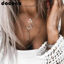 Docona boho prata cor triângulo pingente colar para feminino menina cadeias multicamadas colar de jóias de instrução colar 6424