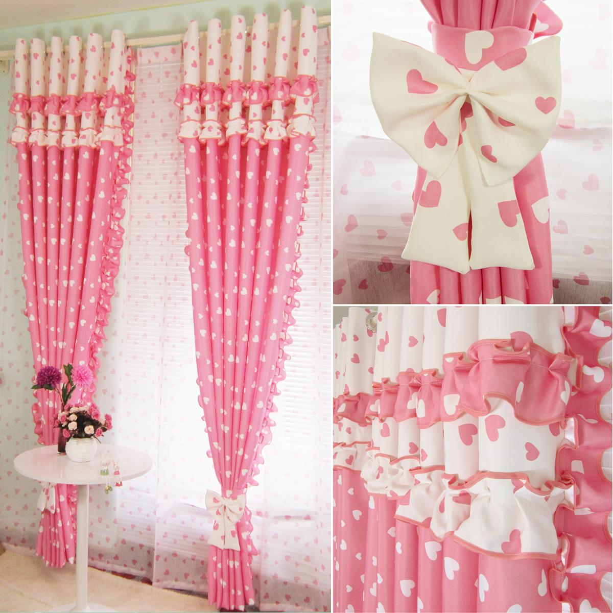 buy pink blackout splice flounce curtains. Black Bedroom Furniture Sets. Home Design Ideas