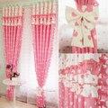 Rosa flounce splice blackout cortinas para sala de estar cortinas de tule para a menina das crianças quarto almofadas de tratamentos de janela 0621