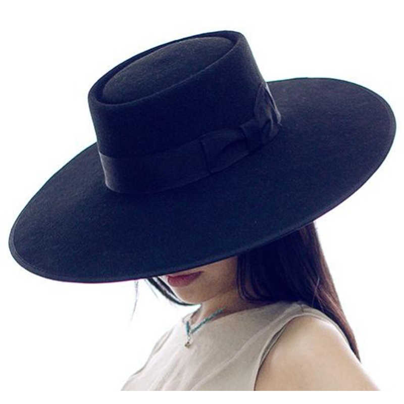 f329061856ba12 LIHUA 100% wool peaked cap Women Like 12cm Large Brim Europe Style Party Hat  latest