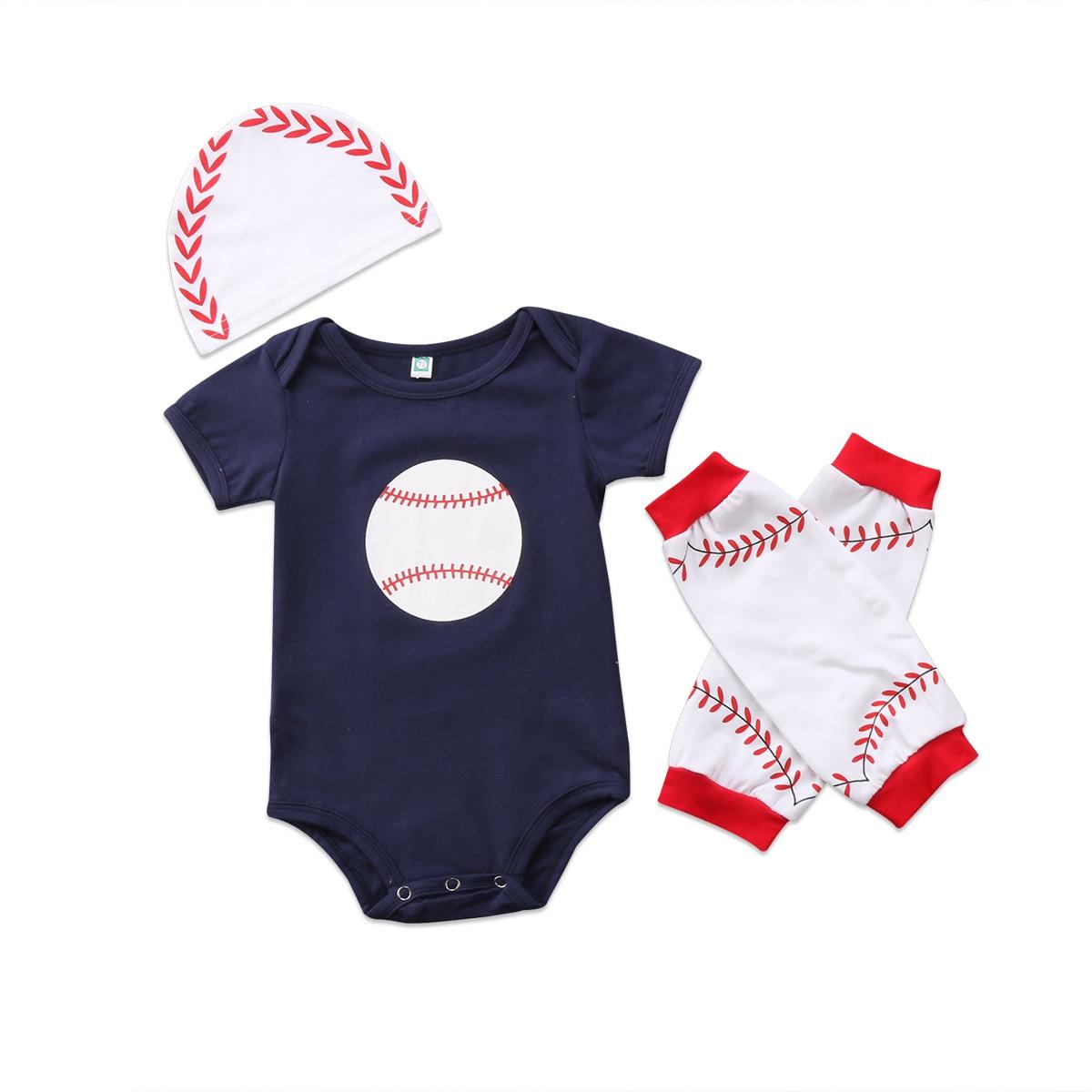 Glorieus 0-18 M Pasgeboren Baby Jongens Meisjes Baseball Sets Korte Mouw Romper Beenwarmers Hoeden 3 Stks Outfits Wk