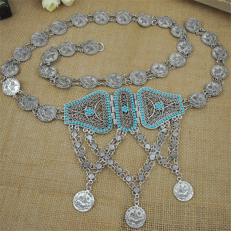 Retail plata antigua para las mujeres vintage metal hebilla mujeres  cinturones turco tallado Cinto cintura cadena en Joyería del cuerpo de  Joyería y ... 5166eed350cc