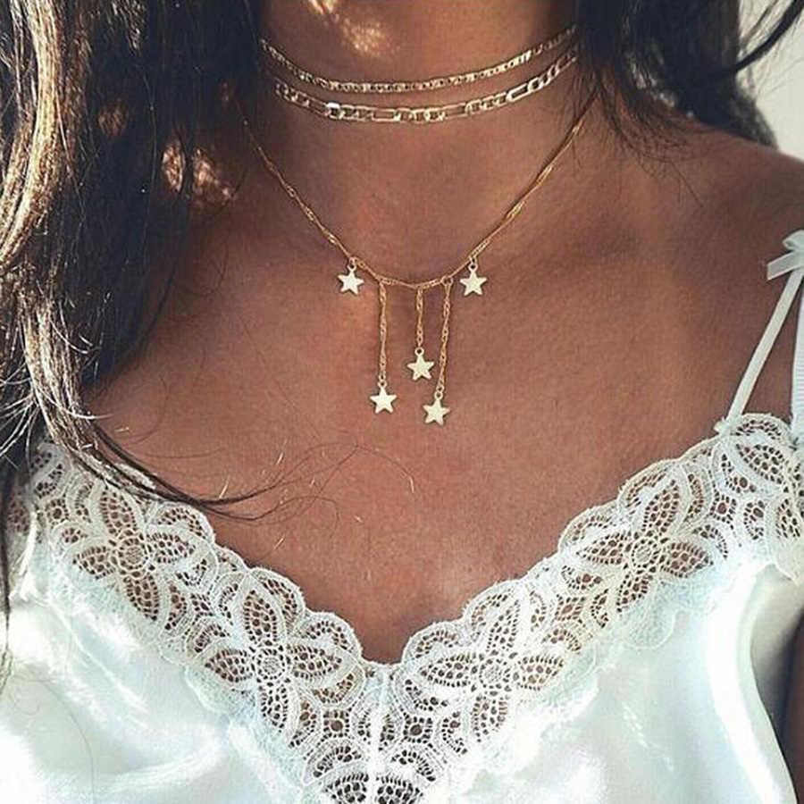 Ravimour Bohemian Vòng Cổ Choker Nữ Dây Chuyền Vàng Ngôi Sao Cổ Vintage & Mặt Dây Chuyền Trang Sức Thời Trang Boho Collares Trang Sức