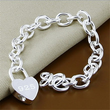 Bracelet Fine-Jewelry Heart-Shaped-Lock 925-Silver Link-Chain Charm Y167 New-Fashion