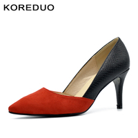 KOREDUO 2018 NEW Women Shoes Snake Printed Sexy Stilettos High Heels Pointed Toe Women Pumps Wedding