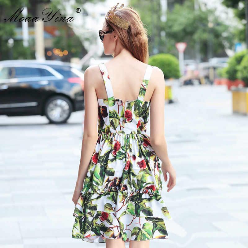 MoaaYina модные дизайнерские подиумные платья летние женские спагетти ремень Fig цветочный принт прерия шик сексуальное элегантное праздничное платье