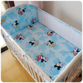 ¡ Promoción! 5 unids de malla de dibujos animados mickey cuna bedding establece parachoques 100% algodón cuna set, incluye (4 bumpers + hoja)