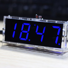 Blue LED Electronic Clock Time Thermometer Microcontroller Digital Clock DIY Kit