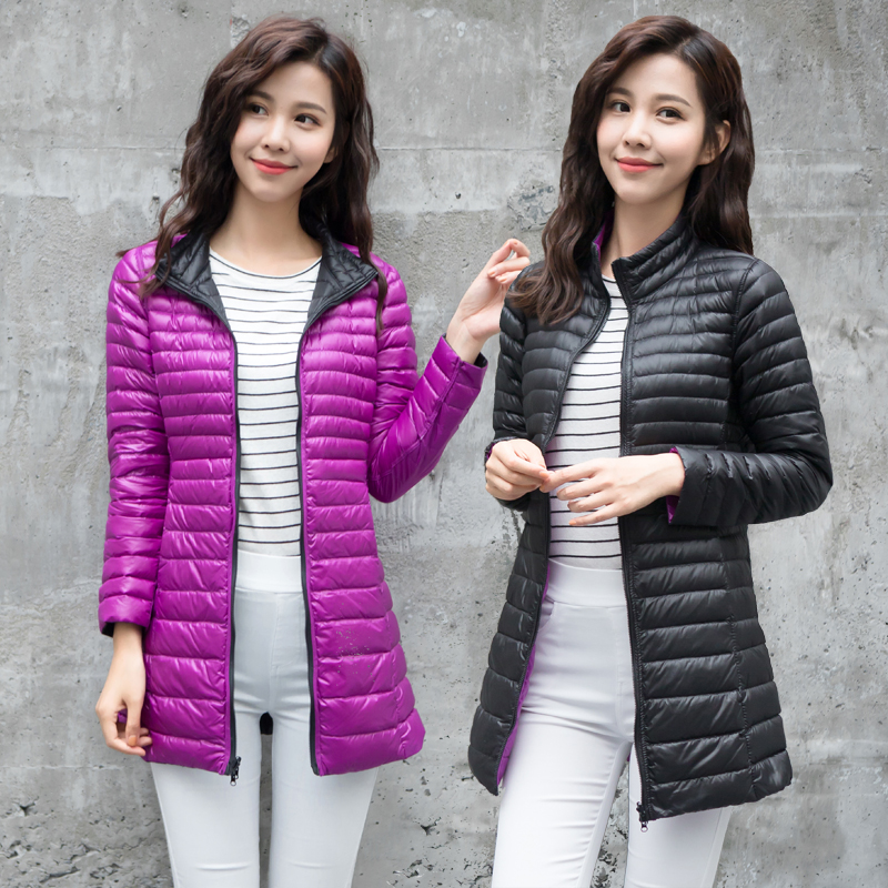 New Fashion Long Women Duck   Down   Jackets Stand Collar Double side Winter   Down     Coat   Outwear Women Slim Doudoune Femme Longue D220