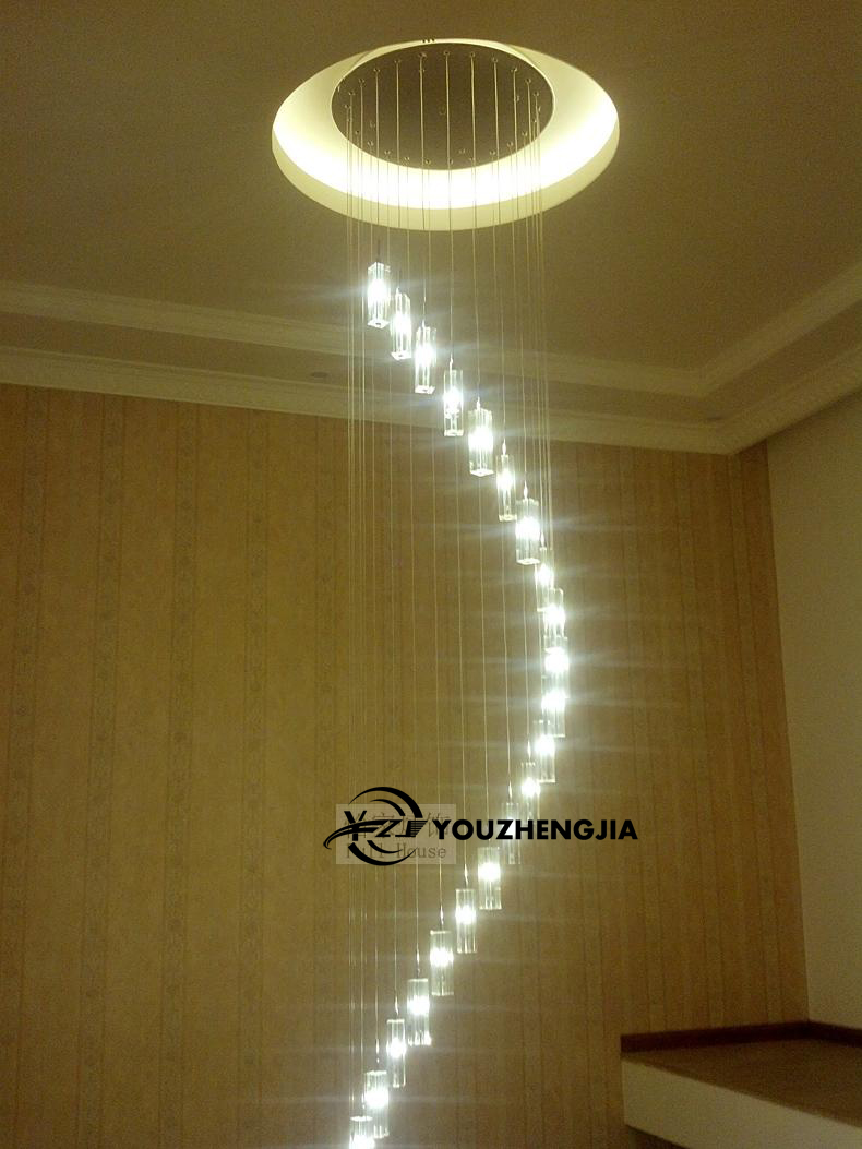 Modern Chinese simple villa crystal block long line LED chandelier S - type rotating double staircase living room lighting led ...