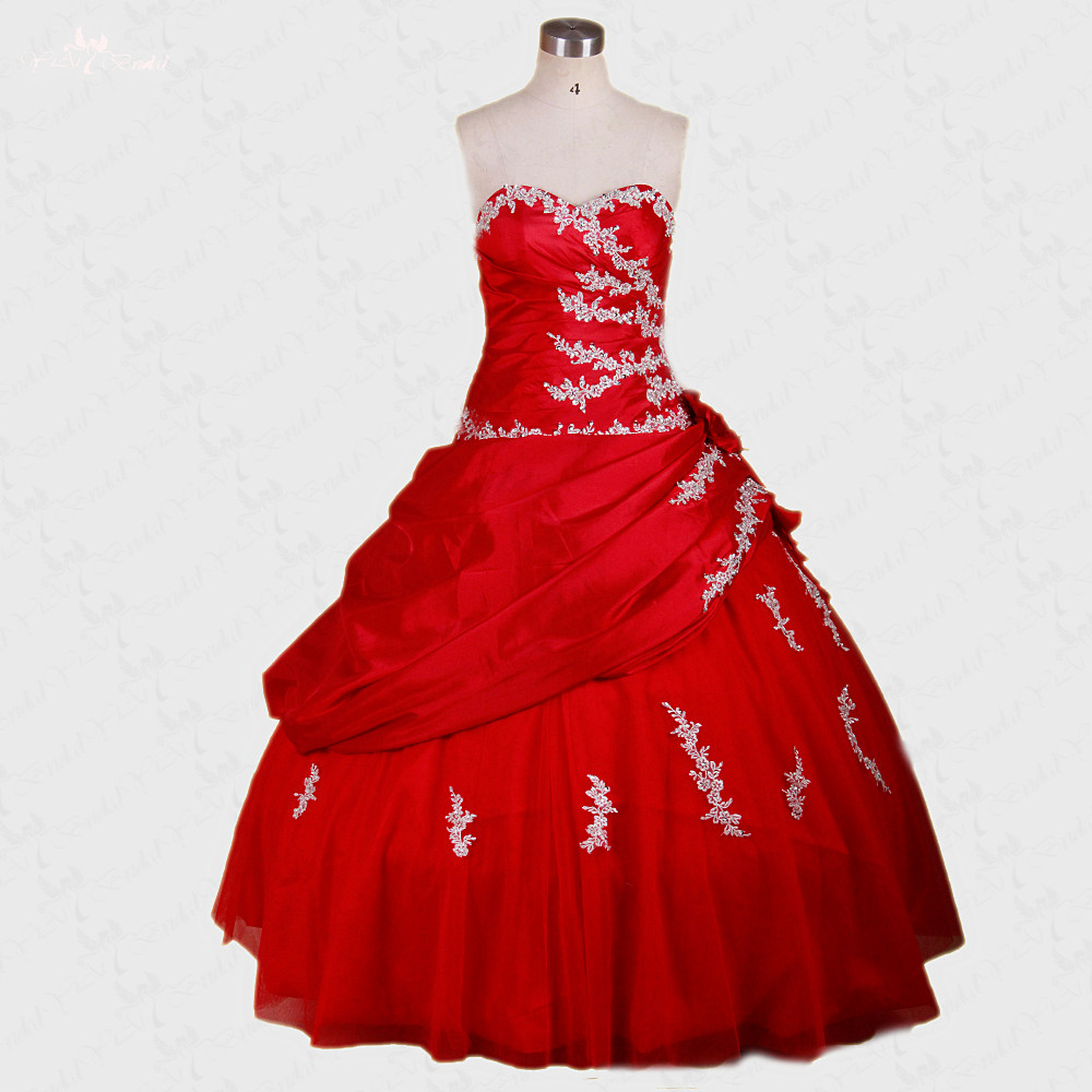 Ball Gown Embroidered Wedding Dress: RSE247 White Beaded Embroidered Quinceanera Dresses Red