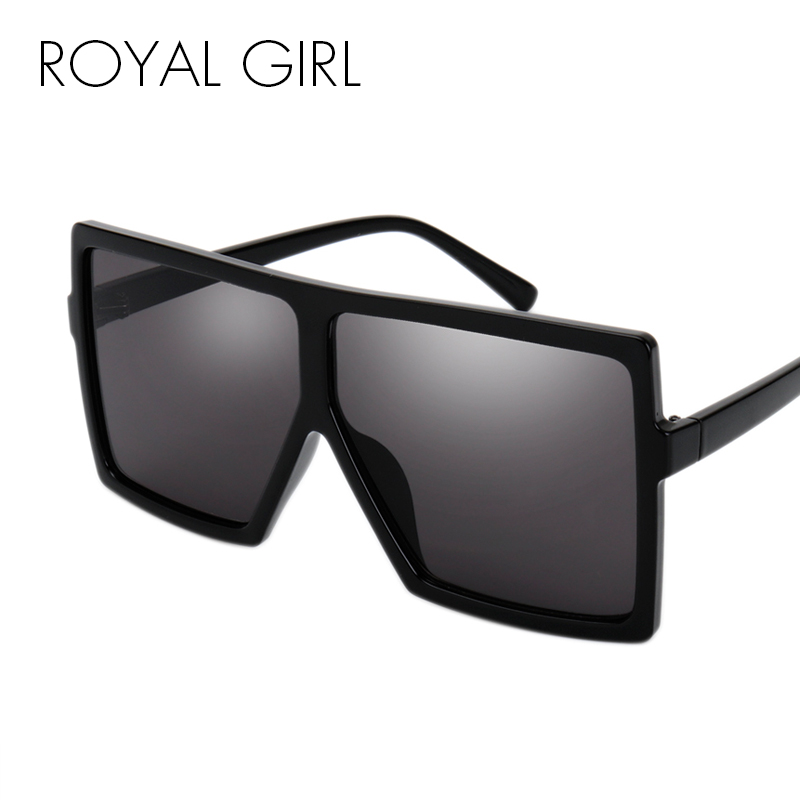 ROYAL GIRL Oversize Square Sunglasses Women Flat Top Fashion Wholesale Fashion Male Sun Glasses Gafas Eyewear ss275