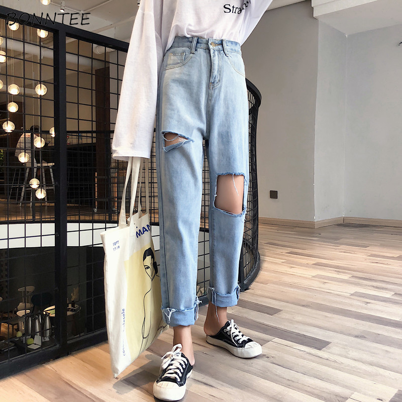 Jeans Women Spring Summer Trendy Korean Style Simple All-match Streetwear High Quality Loose Hole Womens Trousers Chic Casual