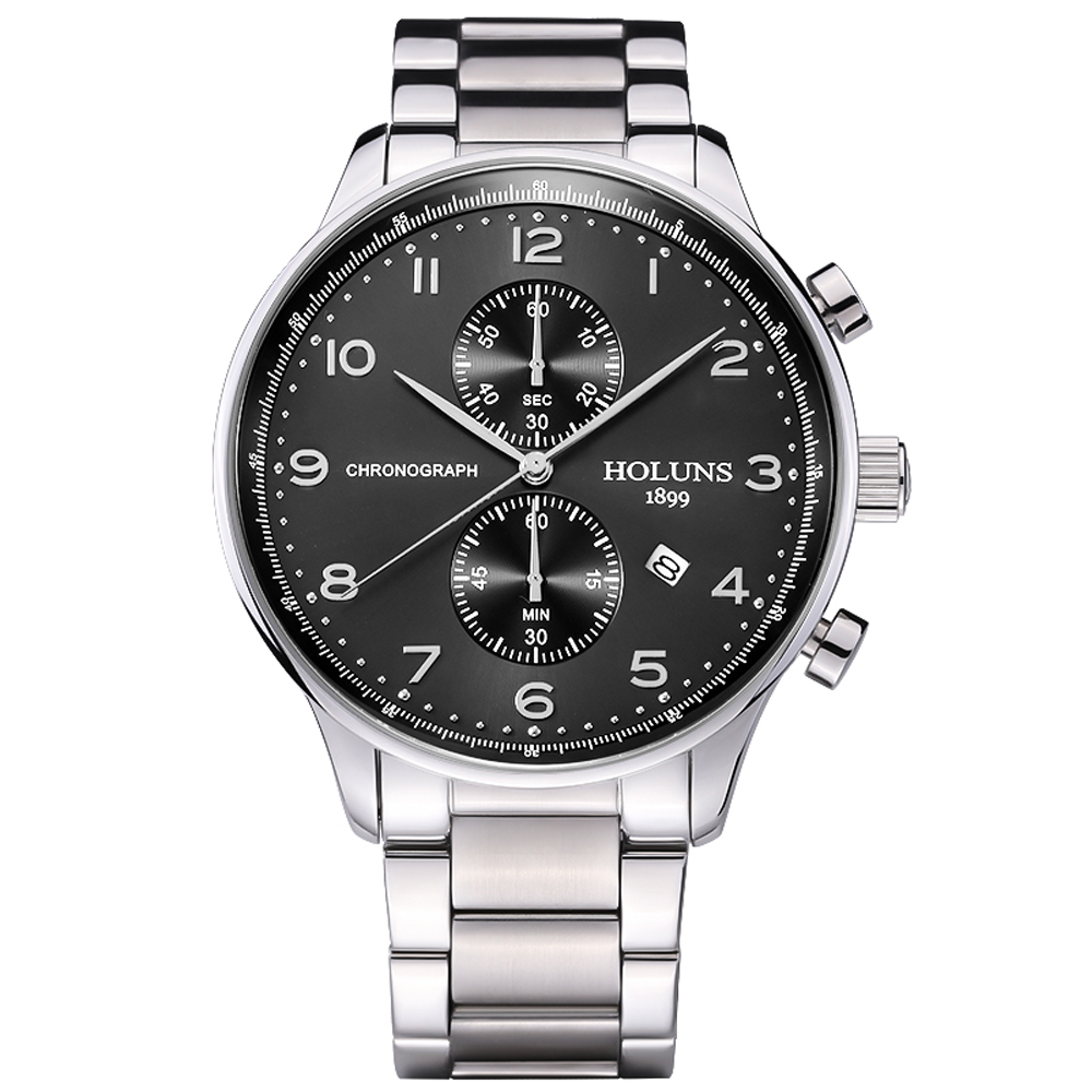 2018 Holuns men s watches fashion Men Wristwatch japan chronograph quartz watch sapphire Waterproof Full Steel