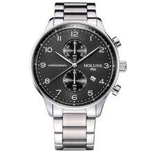 6744f607f 2018 الرجال holuns الساعات أزياء الرجال ساعة اليد اليابان كرونوغراف كوارتز  ساعة الياقوت للماء الرياضية كاملة