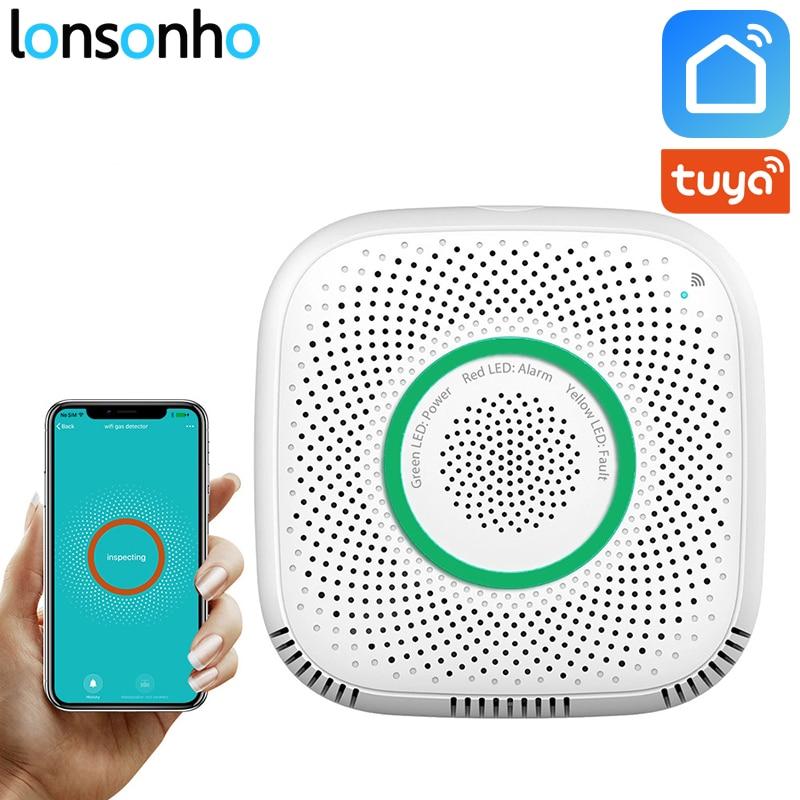 Lonsonho Smart Wifi Gas Sensor Leak Detector Smart Home Security Voice Alarm Tuya Smart Life App Wireless Remote Control