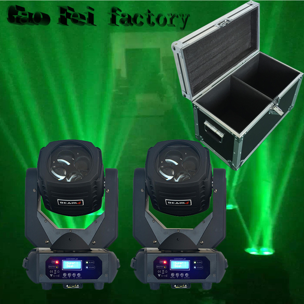 Flight Case 2pieces 4x25W LED Beam Moving Head Light Super Beam 4x25 W  Moving Head Led
