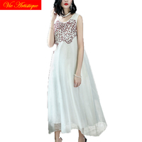 floral silk summer dress robe femme ete 2018 maxi plus size women dresses beach long sexy boho party casual white embroidery