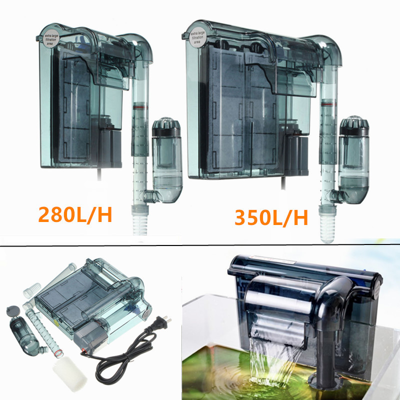 2w/2.5w Quiet Aquarium External <font><b>Filter</b></font> Fish Tank Hanging Waterfall <font><b>Filter</b></font> With Skimmer Remove Oil For Fish Water Plant