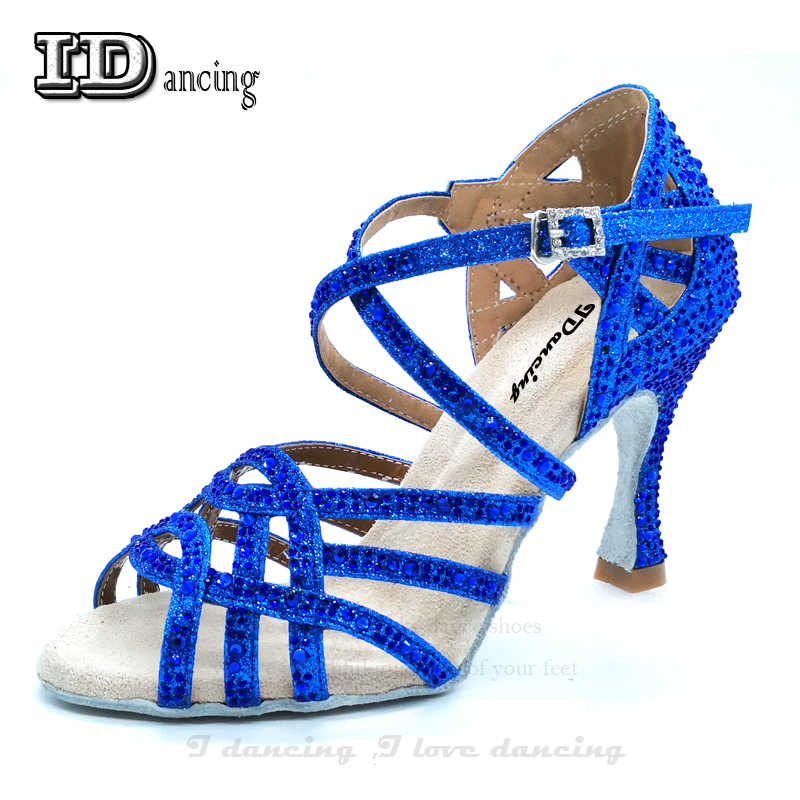 Latin Dance shoes For Women Ballroom Ladies Shoes Rhinestones Tango Dance  Shoes Blue High Heel Shoes 42696eded040
