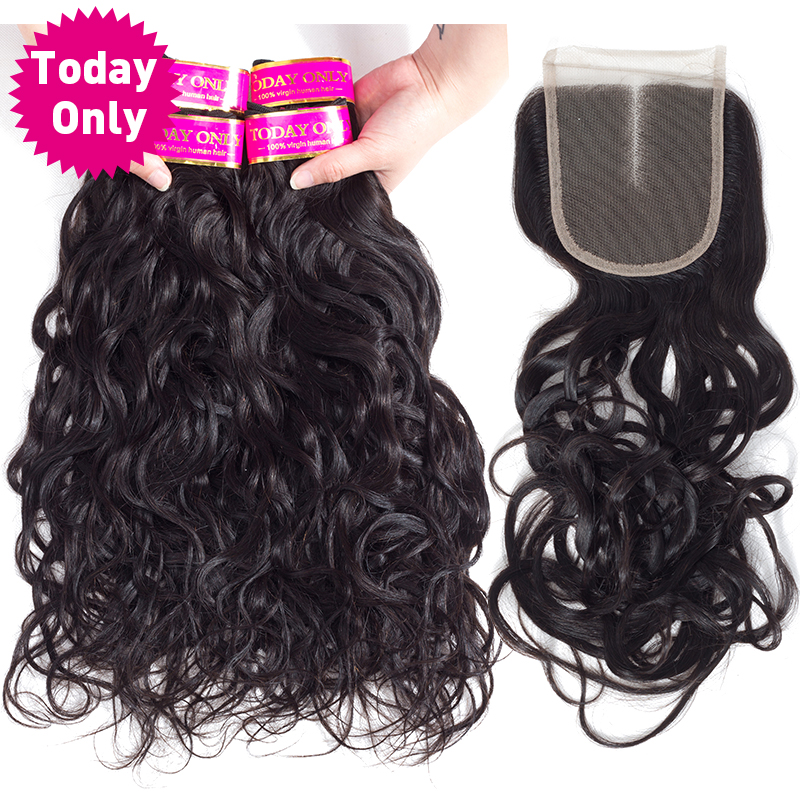 [TODAY ONLY] Natural Wave 4 Bundles With Closure Brazilian Hair Weave Bundles With Closure Remy Human Hair Bundles With Closure