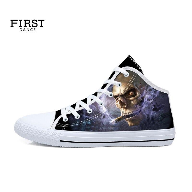 Décontracté 3D crâne imprimé mi bottes hautes toile léger personnalisé chaussures rue rétro Graffiti Skateboard mode appartements 45