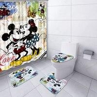 NYAA 4 шт милый Микки Душ Шторы стойка для тряпок крышки унитаза коврик набор ковриков для ванной для Ванная комната Декор