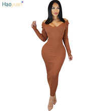 HAOYUAN Sexy Bodycon Maxi Dress Women Clothes Fall Winter Long Sleeve Party  Dresses High Stretch Elegant Knitted Sweater Dress 0b8aaaa68