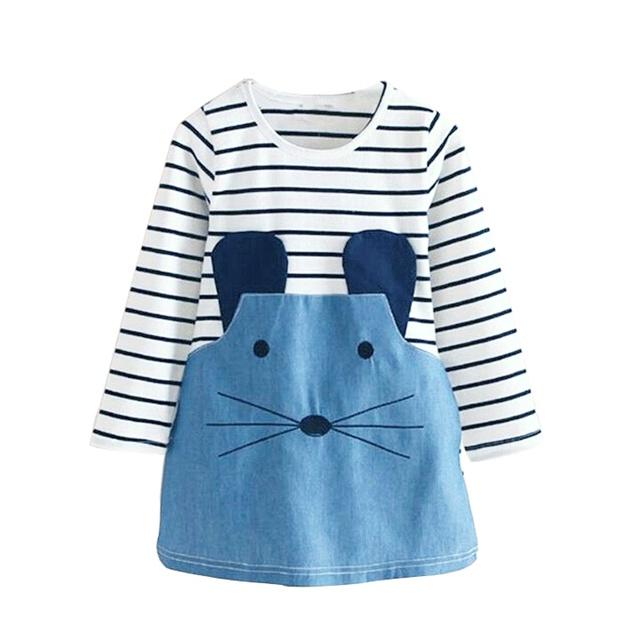 Ropa de las muchachas de Navidad Pequeño ratón vestido de Mezclilla ocasional lindo muchacha del niño ropa niños infantil párrafo ropa infantil