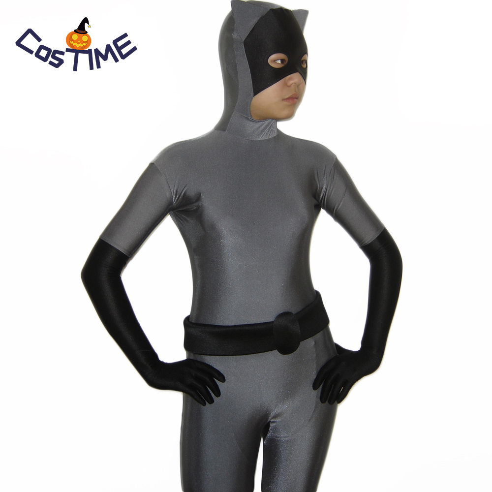 <font><b>Sexy</b></font> Catwoman Cosplay Costume Grey and Black Zentai Full Body <font><b>Catsuit</b></font> Batman Costume Halloween <font><b>Lycra</b></font> Spandex Bodysuit Custom image