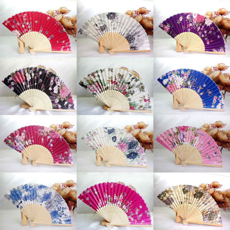 50Pcs Silk Wedding Fan,Japanese Folding Hand Fan,Chinese Dance Fans ...