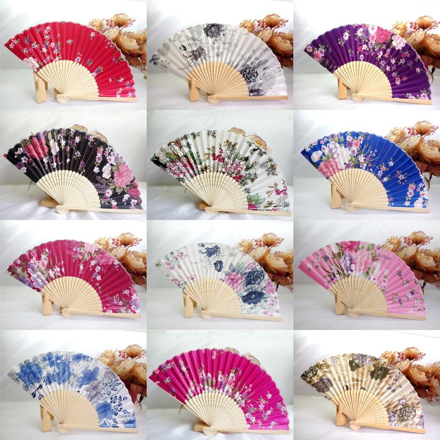 50Pcs Silk Wedding Fan,Japanese Folding Hand Fan,Chinese Dance Fans ...