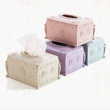Envío Gratis pañuelo elegante caja Color sólido Rosa Emblema apertura superior Durable plástico Mesa decoración organizador