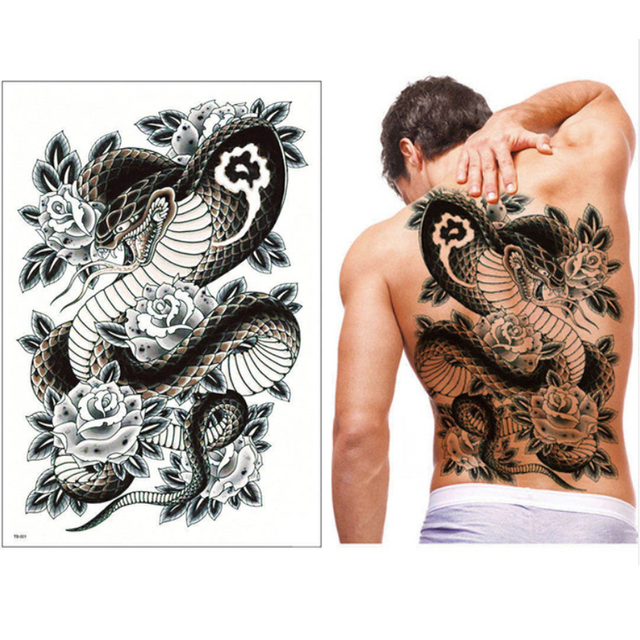 b41f1e637 2018new Super big tattoo sticker full back chest temporary tattoos beauty  snake dragon pattern large fake tattoo female cool men